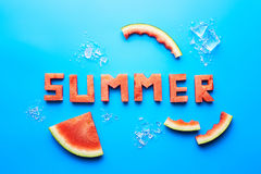 Summer word written with watermelon Royalty Free Stock Photography