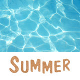 Summer written in letters cut out and swimming pool Stock Image