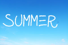 Summer written in the sky Royalty Free Stock Photography