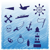 Summer on yacht icons. Holidays on the boat with the pirates in the sea vector illustration