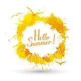 Summer yellow paint splashes Royalty Free Stock Photos