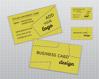 Summer yellow stylish business card and visiting Royalty Free Stock Image