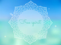 Summer yoga poster. Beautiful summer poster with mandala and free spirit text Royalty Free Stock Photos
