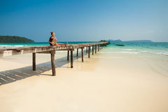Summer yoga session in beautiful tropical island Royalty Free Stock Photography
