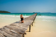 Summer yoga session in beautiful tropical island Stock Images