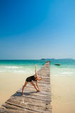 Summer yoga session in beautiful tropical island Royalty Free Stock Images