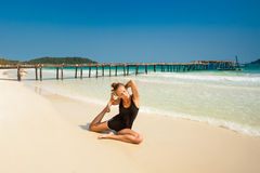 Summer yoga session in beautiful tropical island Stock Image