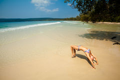Summer yoga session in beautiful tropical island Royalty Free Stock Photo