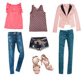Summer young fashion collage clothes. stock images