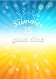 Summer is your time. The inscription on colorful background with glow and the rays of the sun Royalty Free Illustration