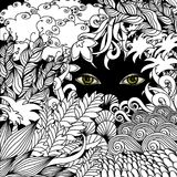 Summer zentangle floral  background and Scary eyes staring. Stock vector illustration Stock Images