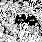 Summer zentangle floral  background and Scary eyes staring. Stock vector illustration Stock Image