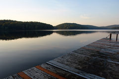 Summercamp at rest. Dock at summercamp at the end of the day Stock Photo