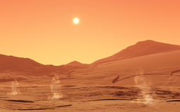 Summerday from Mars. This image shows a summer day from mars with little dust devils vector illustration
