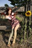 Summergirl. Red-haired girl with a sunflower near wooden fence stock image