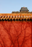 Summerhouse behind the red wall. A scene of Jingshan park in Beijing, China. You can see the summerhouse behind the red wall Royalty Free Stock Photo