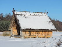 Summerhouse with carved roof top Royalty Free Stock Photo