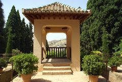 Summerhouse at the garden of Alhambra Palace in Granada, Spain, Europe Royalty Free Stock Images