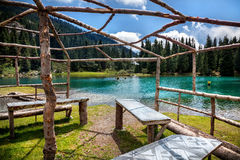 Summerhouse near mountain lake Stock Image