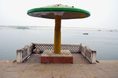 Summerhouse on sacred Ganga river coast Royalty Free Stock Photography
