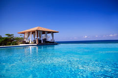 Summerhouse with swimming pool near Atlantic ocean royalty free stock photography