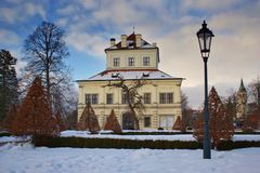 Summerhouse in winter. Summerhouse in the park in the middle of winter at sunset Royalty Free Stock Photography