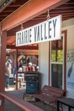 Historic train station platform and sign. Summerland, British Columbia/Canada - May 14, 2017: the Prairie Valley Station platform where passengers embark on the Stock Images