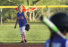 A Summerlin Little League Girls Softball Game. SUMMERLIN, NEVADA - JUNE 4: A Summerlin Little League girls game on June 4, 2015, in Summerlin, Nevada. The right Stock Image