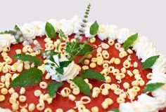 Summerly strawberry-cake. Parts of a strawberry-cake with creme and mint Royalty Free Stock Photo