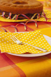 Summerly table setting. An summer party table setting with fork, napkin and dish Royalty Free Stock Photography