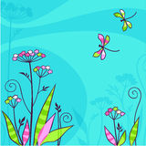 Summers day, flowers and dragonflies Royalty Free Stock Photo