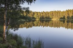 Summers Evening on Queens Loch at Aboyne on Royal Deeside in Scotland. Royalty Free Stock Images