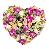 Summers flowers heart floral collage concept Stock Photography