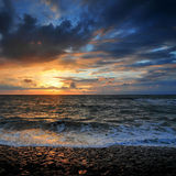 Summerstorm sunset in Petten Royalty Free Stock Photography