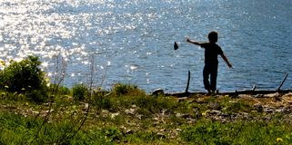 Summertime. Photograph of a boy playing, throwing rocks into the sea by in the countryside Stock Photography