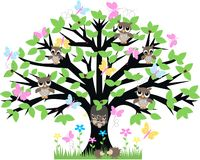 Summertime. A tree full of animals in summertime royalty free illustration