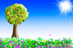 Summertime. Painted landscape with tree and colorful meadow vector illustration
