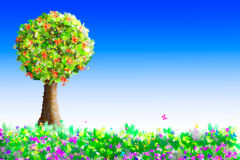 Summertime. Painted landscape with tree and colorful meadow royalty free illustration