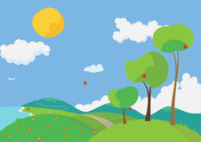 Summertime. Vector illustration of a landscape with colorful flowers and trees in the summertime Stock Image