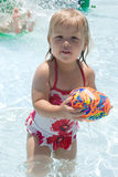 Summertime. Adorable little girl in swimming pool with ball Royalty Free Stock Photo
