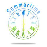 Summertime Abstract Clock With Summer Colors Stock Image