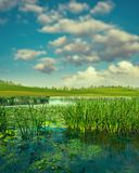 Summertime. Abstract seasonal landscape. With clean river and green hills under bright sun stock images