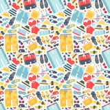 Summertime accessories seamless pattern vector. Stock Photos