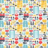 Summertime accessories seamless pattern vector. Stock Image
