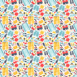 Summertime accessories seamless pattern vector. Royalty Free Stock Photos