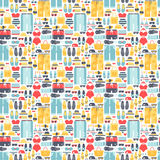 Summertime accessories seamless pattern vector. Royalty Free Stock Photo