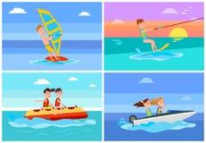 Summertime Activities Set Vector Illustration stock illustration