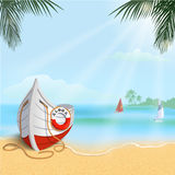 Summertime background with boat Royalty Free Stock Photo