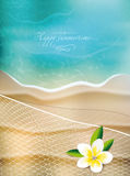 Summertime background with flower and fishnet. Summertime background with viewof the beach, flower and fishnet Stock Photo