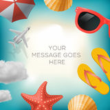 Summertime background with summer icons Royalty Free Stock Photography